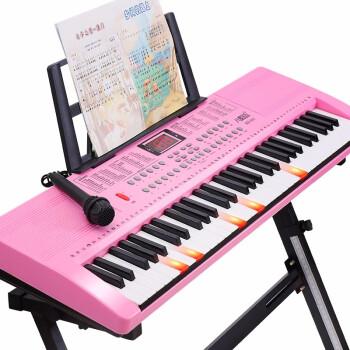 【超大85 cm】8度ベル子供電子キー61ピアノ鍵盤大人初心者知能教育入門音楽玩具多機能キーボード楽器超大型85 cm-ライトアップとピアノ-桜パウダー【オルガンセット+大プレゼント】