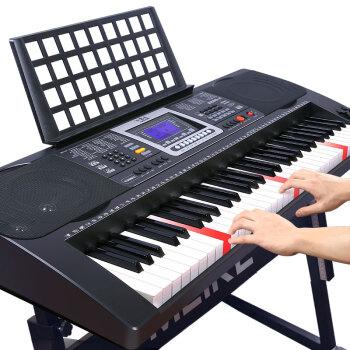美科(MEIKERGR)MK-8690インテリジェント版+琴架接続APPの点灯と61鍵盤の強度のピアノ鍵盤インテリジェント電子キーボンド接続マイクヘッドフォン携帯に琴架が付いています。